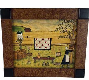 "Anne Wiest Pennsylvania Folk Art Theorem Painting on Velvet 10""H 12""W"