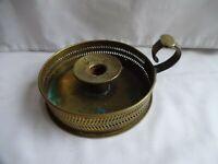 Antique Brass Galleried Chamber Stick Height 8 cm Diameter 14 cm