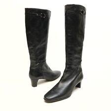 COLE HAAN Women's Black Leather Knee-High Zipper Boots Sz 11B Stretch Fashion