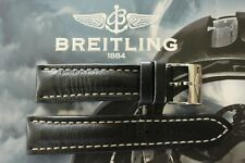 BREITLING UNK# 22-20 BLACK OILED CALF TONGUE BUCKLE WATCH BAND WATCHBAND STRAP