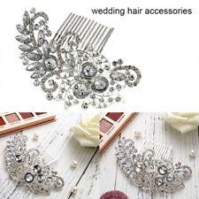 Pettine capelli da sposa in argento nuziali per fiori Diamante Prom Slides Grips