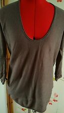 Great Plains brown jumper sweater top size small 8 10 long sleeve light knit