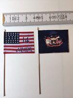 875) 2x 28mm ACW Union Infantry 14th NY Brooklyn Reg Flags National & Regimental