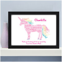 Personalised Bridesmaid Flower Girl Maid of Honour Unicorn Wedding Party Gifts