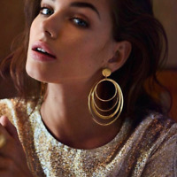 Fashion Women Alloy Big Circle Drop Dangle Gold Plated Ear Stud Earrings Jewelry
