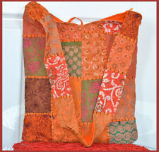 Hand Crafted Vintage Hand Embroidered Patches Sling Bag, Shoulder Bag Tangerine
