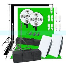 2250W Photo Studio Continuous Lights Softbox 3X Backgrounds Backdrop & Stand Kit