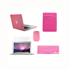 """5in1 Rubberized PINK Case for Macbook PRO 13"""" + Keyboard Cover +LCD + Bag +Mouse"""