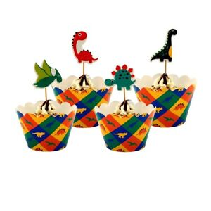 Kids Dinosaurs Theme Birthday party Cupcake Decor 12Pcs Wrappers & 12Pcs Toppers