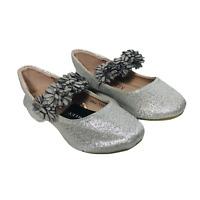 Little Girls Size 6 Laura Ashley Silver Glitter Flower Band Dress Shoes Toddler
