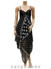 Robe Tunique T UNIQUE = 38 40 42 44 46 Asymétrique pois bijou Fête FR NEUF Dress