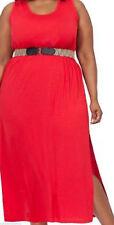 Clothes - Plus Moda Women's 2X Deep Red Jersey Sleeveless Dress Calf Length (18)