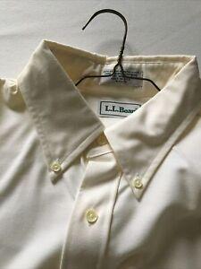 NWOT Men's LL Bean Ivory Long Sleeve Dress Shirt  Sz 16 1/2 - 34 Cotton Blend