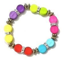 New Kids Colourful Round Bricks Bracelets Children Elastic Wristbands