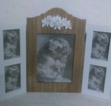 Picture Frame White/Natural Roses Ornament Shabby Chic Cottage Vintage Cottage