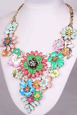 chunky Bright Multi Flower Necklace Woman Jewelry Crystal pentand Mixed Chain