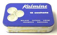 ANCIENNE BOITE METAL PUBLICITAIRE MEDICAMENT LITHOGRAPHIE KALMINE CACHET
