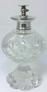 """Antique Sterling Silver-collared 6 ½ """" Cut Crystal Perfume Atomizer–c1915 (598g)"""