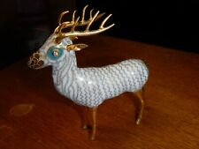 Antique Cloisonne Quartz Eyes Reindeer Deer Stag Bull Elk Figurine Sculpture