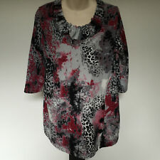 'LILIA' VGC SIZE 'XL' PINK, GREY & BLACK 3/R SLEEVE TOP WITH PLEATED NECKLINE