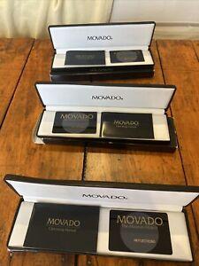 3 Vintage Movado Museum Watch Case Box Operating Manual & Warranty Card Set