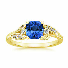 Natural Diamond 1.75 Ct Blue Sapphire Rings Solid 14K Yellow Gold Gemstone Rings