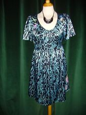 Laura Lees for Topshop Animal Print Blue Satin Dress Line Style Embroidery Small