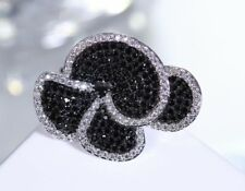 925 STERLING SILVER LARGE BLACK & WHITE CZ FLOWER LADIES RING COCKTAIL FUNCTION