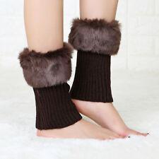 Hot Women Winter Leg Warmers Lady Crochet Knit Fur Trim Boot Socks Toppers Cuff