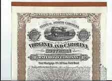 Virginia and Carolina Southern RR Stock Certificate - Gold Bond