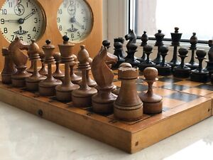 1930-40s Rare Vintage USSR Soviet Russian Wooden Chess Set Board VTG Old Antique