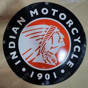 INDIAN MOTOR BLACK VINTAGE PORCELAIN SIGN 30 INCHES ROUND