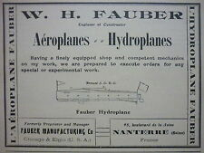 1909 PUB W H FAUBER AEROPLANE HYDROPLANE CHICAGO EGLIN NANTERRE ORIGINAL AD
