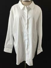 Woman Within top blouse Size 2X 26 28 solid white long sleeve cotton