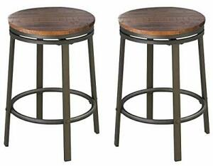 24-Inch Backless Swivel Bar Stool, Industrial Kitchen Counter Height Stool