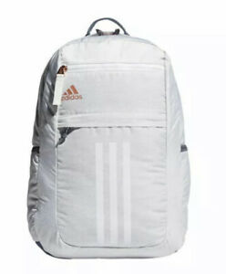 Adidas Backpack League 3 Stripe Laptop Backpack Bag (Jersey White/Rose Gold) NWT