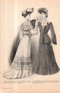 1904 Original Delineator Print - Street Toilette and Kersey, Gored Coat