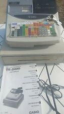 CASIO ELECTRONIC CASH REGISTER MODEL TE-2400 WITH KEYS AND MANUAL 1 OF 2 READ