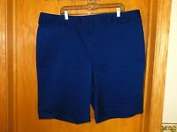 "Lands' End Women's Mid Rise 10"" Chino Bermuda Shorts 16 REG Navy Blue Modest"