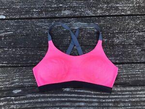 Victoria's Lightweight Sports Bra Pink Black 34C