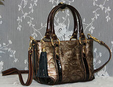 Marino Orlandi ITALIAN, ROSE EMBOSSED METALLIC BRONZE LEATHER SLING,HANDBAG- NWT