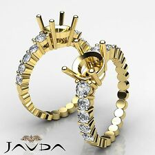 Diamond Engagement Round Cut Semi Mount Shared Prong Ring 14k Yellow Gold 0.70Ct