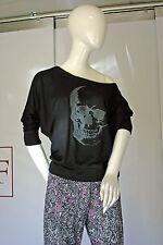 modisches Fledermaus-Shirt, Totenkopf Skull-Motiv 36/S handcoloriert
