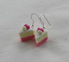 Handmade Unusual Fimo Heart Angel Pink Sponge Cake Inspired Earrings - Gift Idea