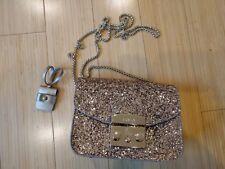 FURLA mini crossbody bag purse metropolis mini glitter leather gold new