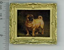 Dollhouse Miniature Gold Framed Picture of a Little Pug Dog