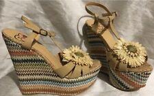 Penny Loves Kenny Multi-Colored Raffia Wedges w/Raffia Flower Women's 7 Shoes