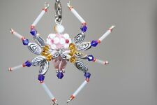 Pink Flower & Swarovski Beaded Spider - Ornament / Christmas Tree Decoration
