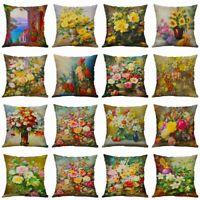 Decor Cotton Linen Cushion Cover Waist Home Sofa Flower Pillow Case 18''