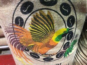 ROHKAFFEESACK--origineller AUERHAHN  auf super KAFFEESACK  aus Papua